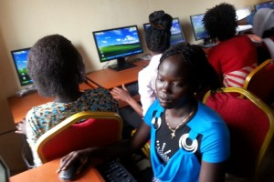 women in Sudan on computers
