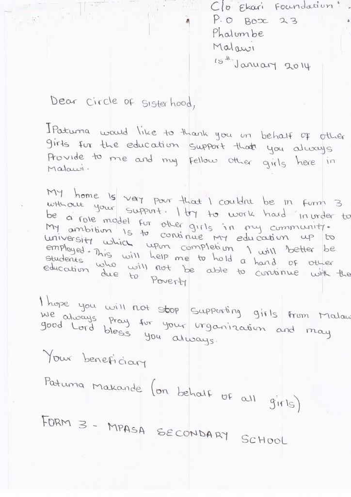 Circle of Sisterhood Letter Patuma (2)